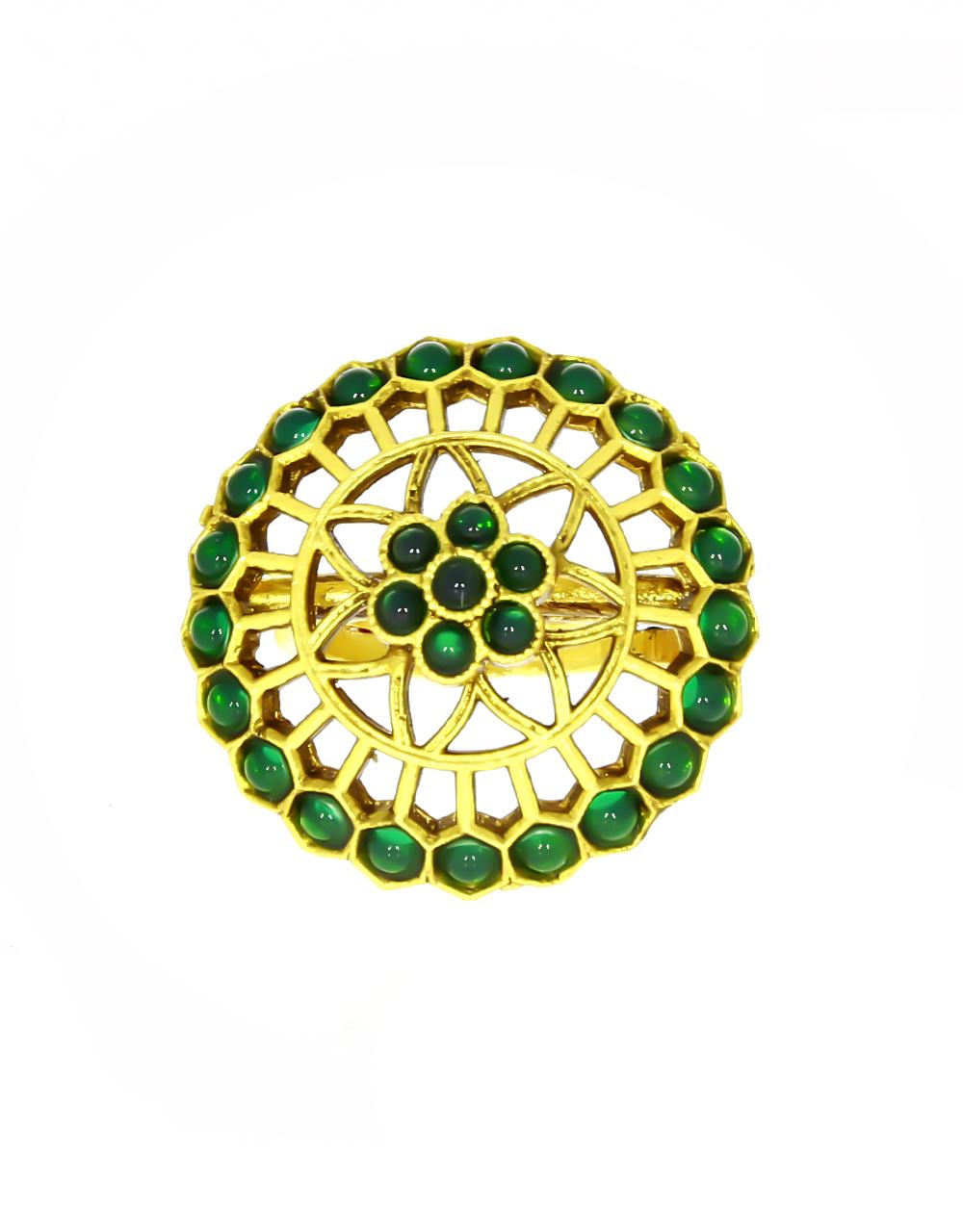 Green Colour Royal Design Beautiful Finger Ring for Women