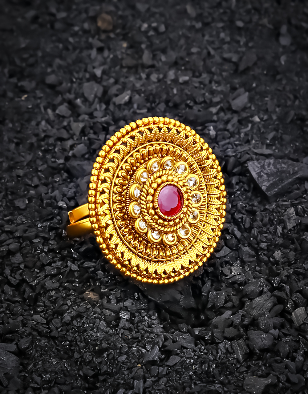 Pink Colour Royal Look Round Shape Dazzling Finger Ring for Girls