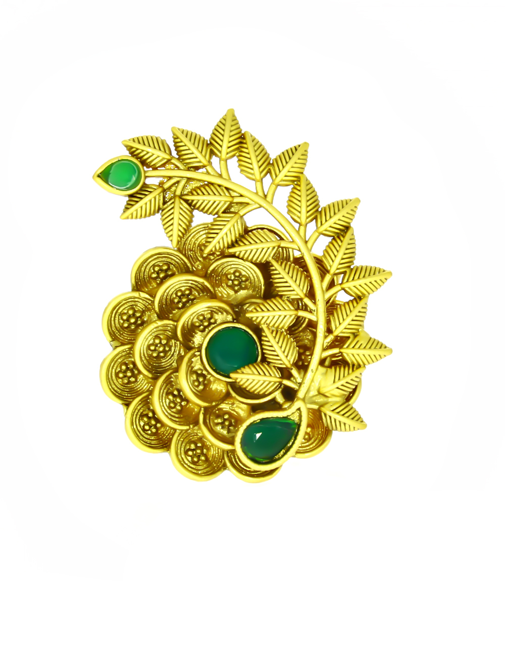 atte Gold Finished Designer Finger Ring Styled with Green Colour Stone