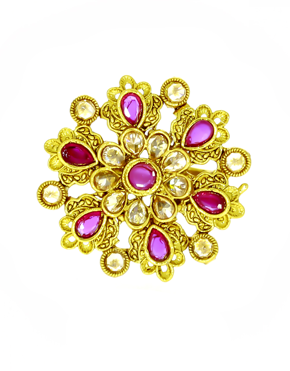 Pink Colour Classy Floral Design Finger Ring for Women Styled With Sparkling Stones