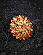 Pink Colour Dazzling Stones Embedded Fancy Finger Ring for Women