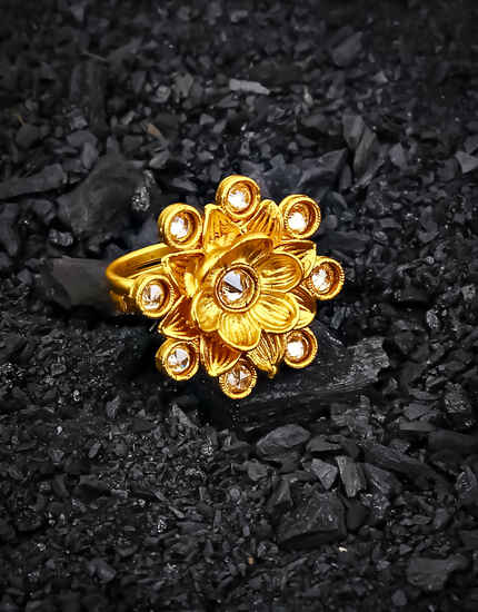 loral Design Peach Stone Studded Gold Plated Finger Ring for Women