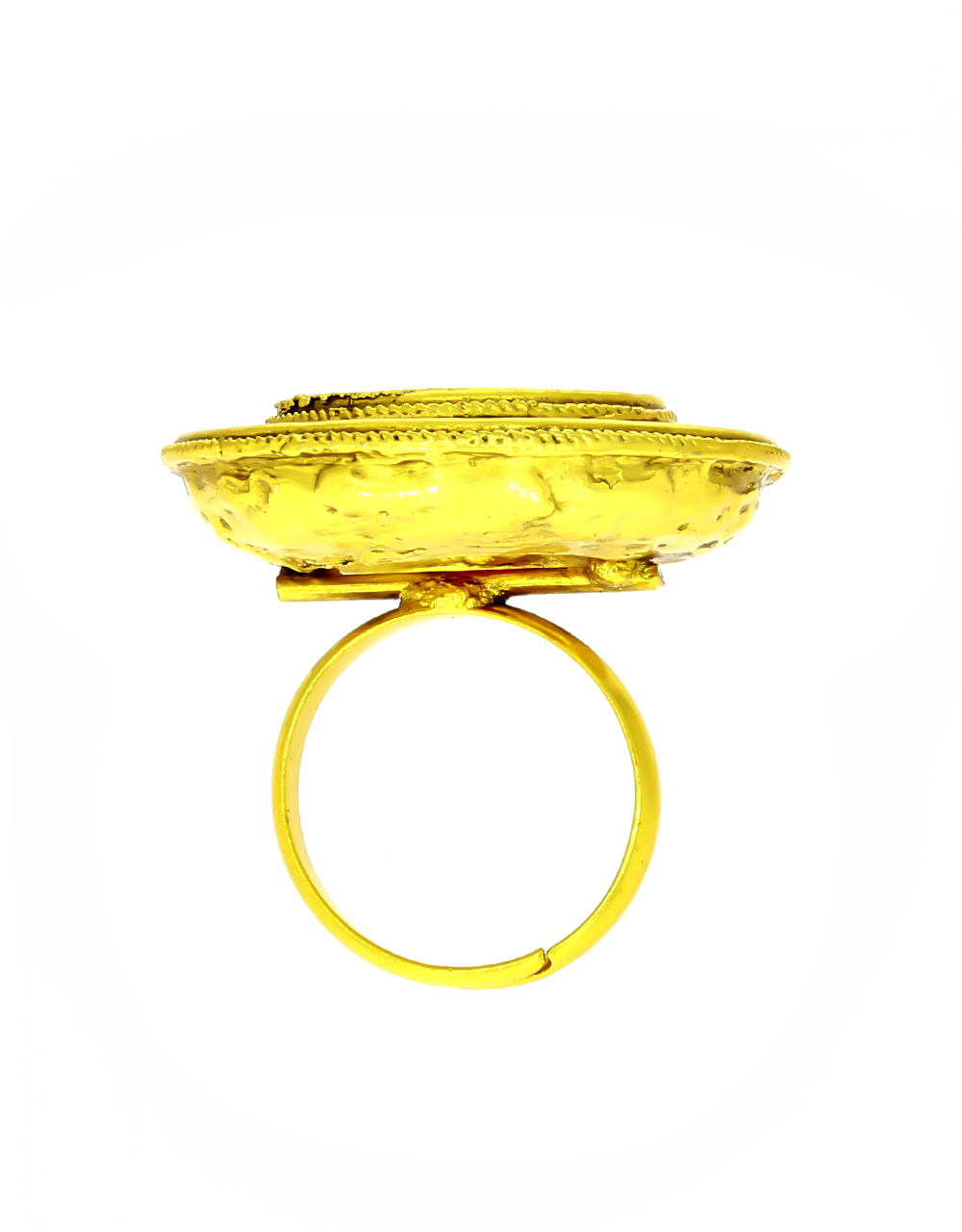 Matte Gold Finished Round Shaped Pink Stone Studded Ring for Women