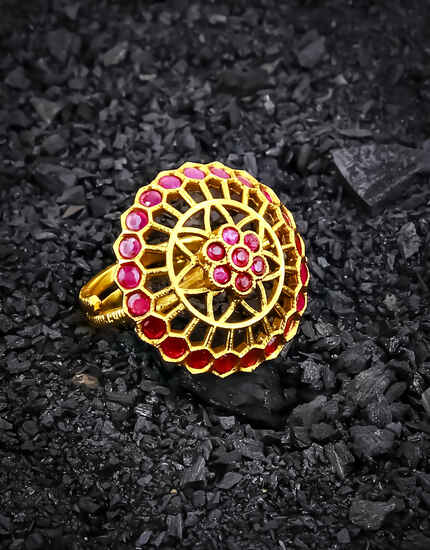 Pink Colour Round Shape Royal Look Traditional Finger Ring for Women
