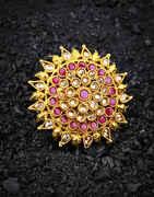 Round Shape Fancy Royal Design Pink Stone Studded Finger Ring