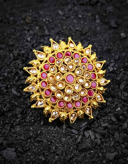 Round Shape Fancy Royal Design Pink Stone Studded Finger Ring
