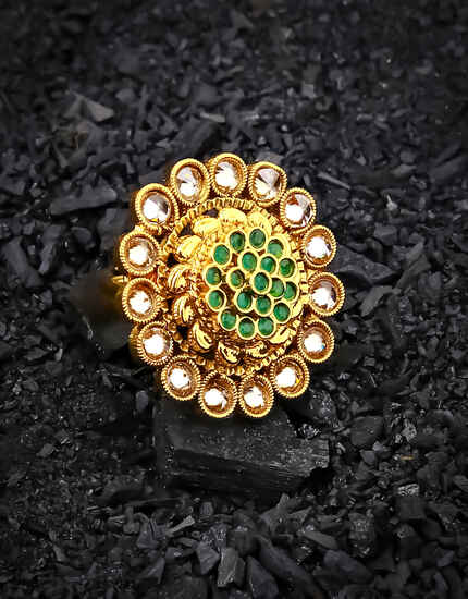 Designer Round Shape Green Stone Studded Fancy Finger Ring for Women