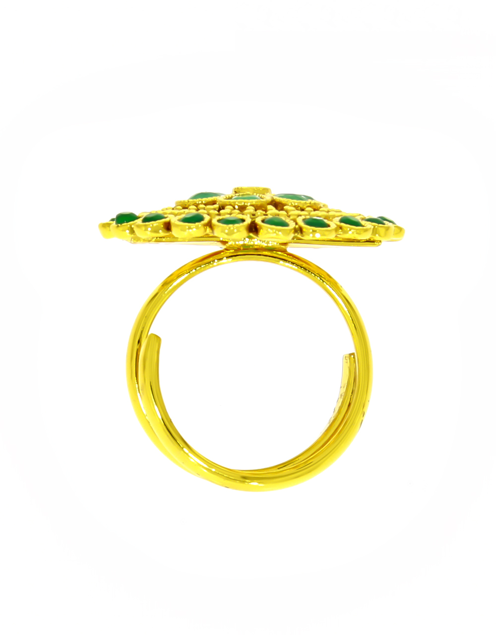 Round Shape Adorable Green Colour Finger Ring Styled with Stone for Women