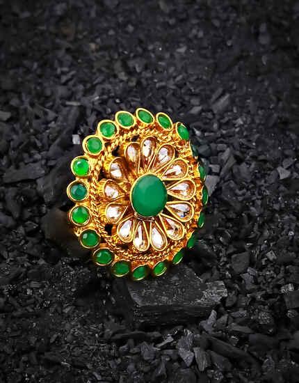 esigner Green Colour Sparkling Stone Studded Fancy Finger Ring for Women
