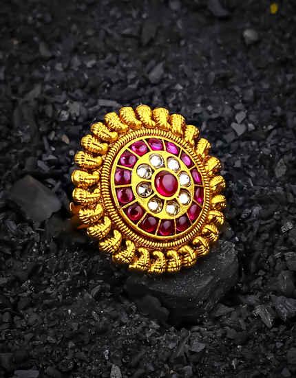 Pink Colour Round Shape Royal Design Finger Ring for Women
