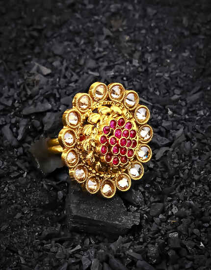 Adorable Pink Stone Studded Beautiful Traditional Finger Ring