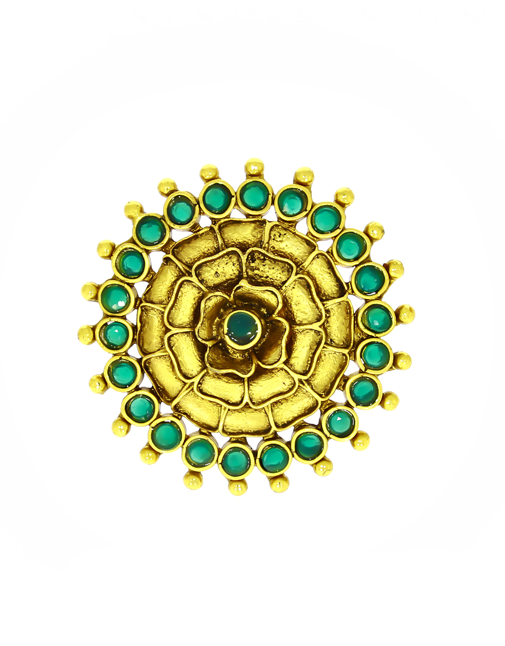 Green Colour Floral Pattern Adorable Finger Ring for Women