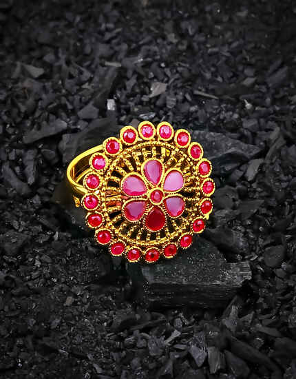 Pink Colour Round Shape Fancy Finger Ring for Women