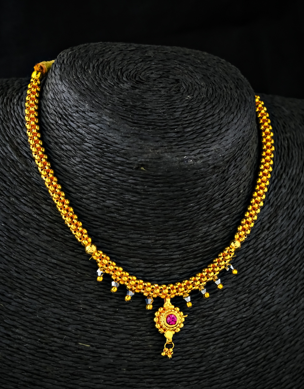 Designer Golden Beaded Thushi Necklace for Women Styled with Black Beads