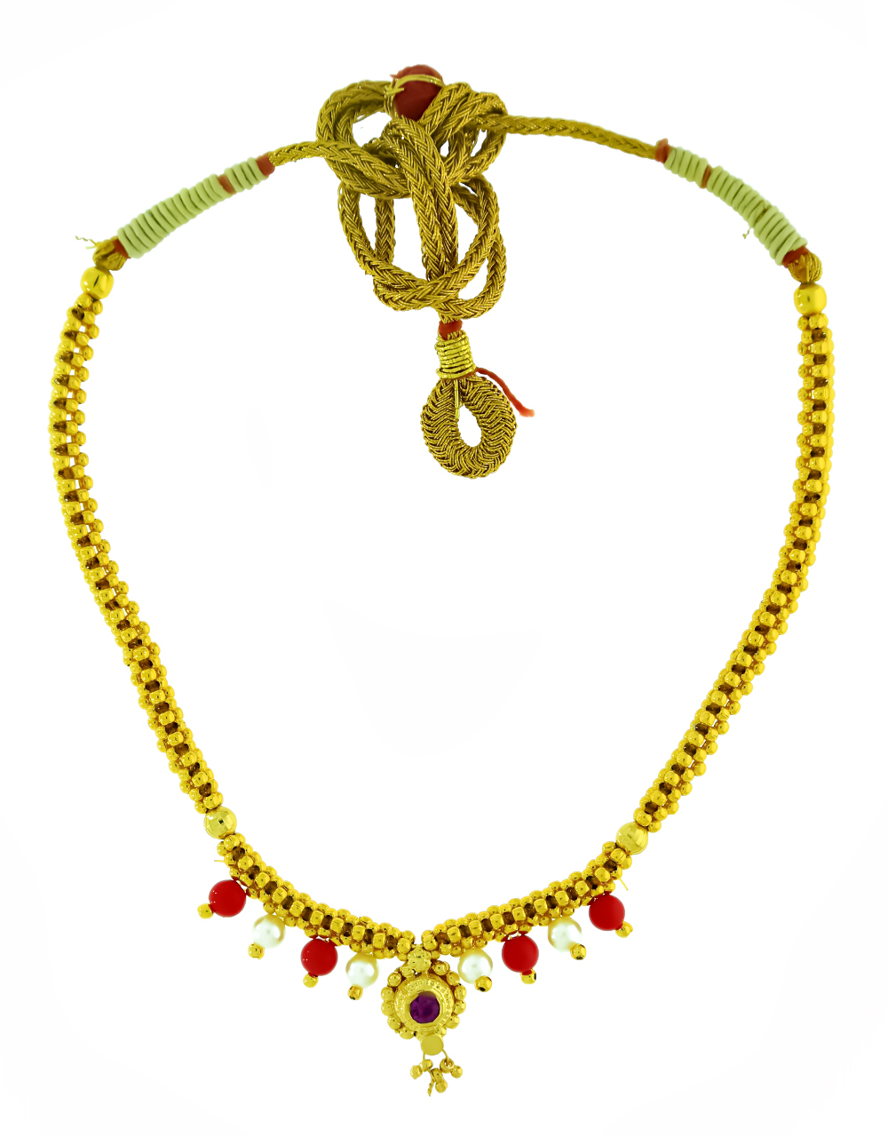 White-Red Beads Styled Adorable Thushi Necklace for Women