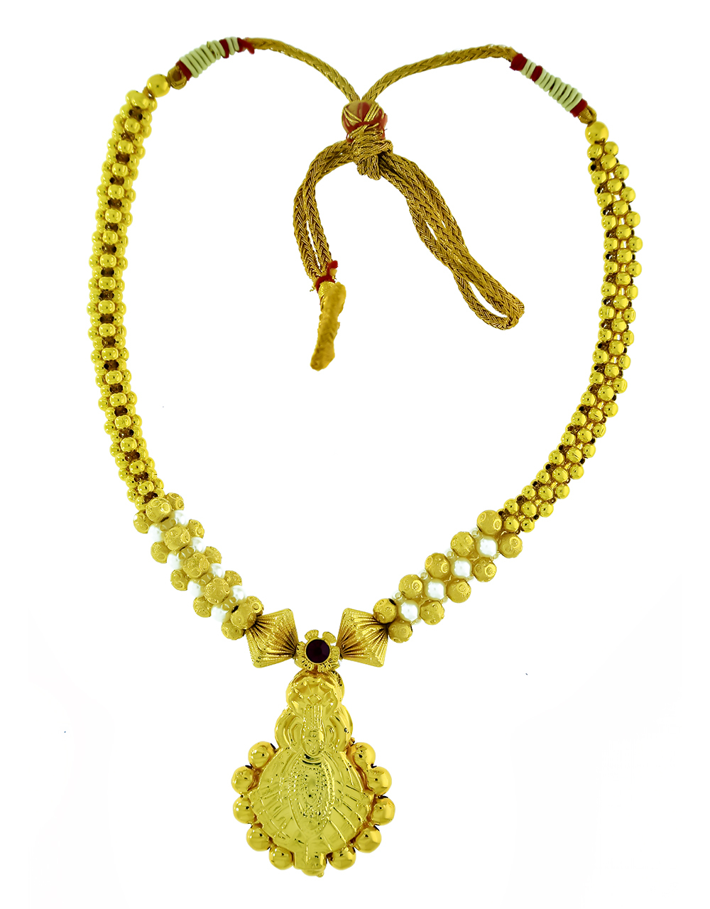 Gold Plated Adorable Temple Pendant Thushi Necklace for Women