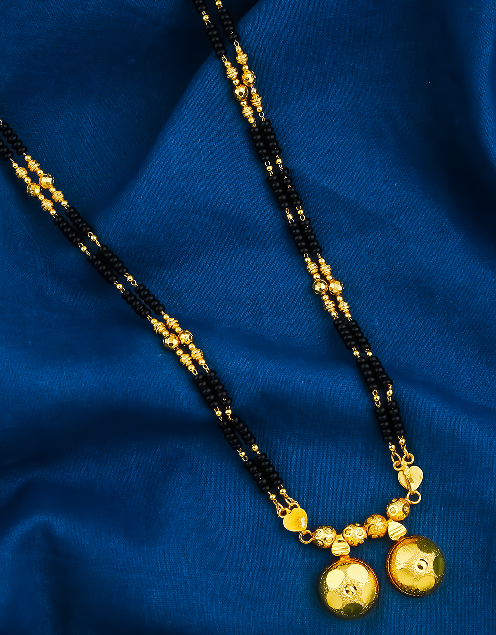 Double Layer Chain Black Beaded Chain Pattern Wati Mangalsutra for Women