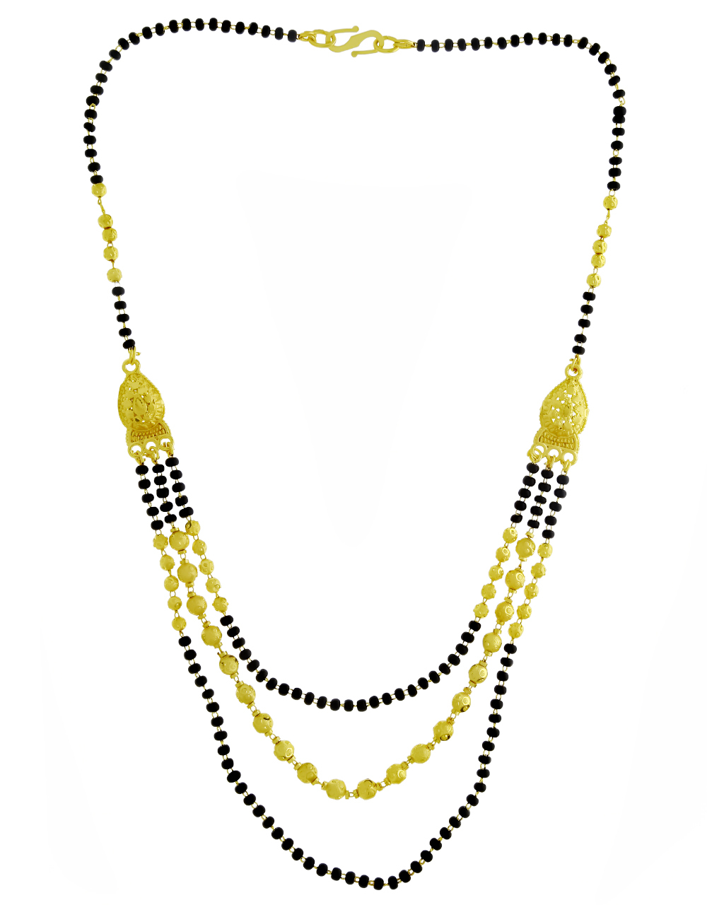 Gold Finishing Appealing Three Layers Mangalsutra for Women