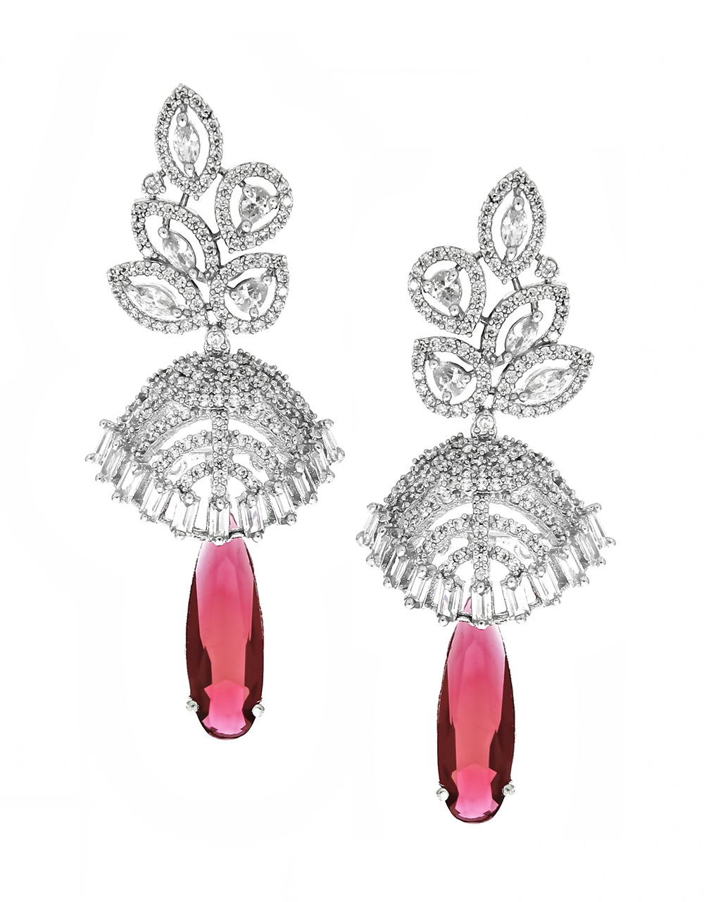 Silver Finish Dazzling Pair of Earrings with Maroon Colour Droplet