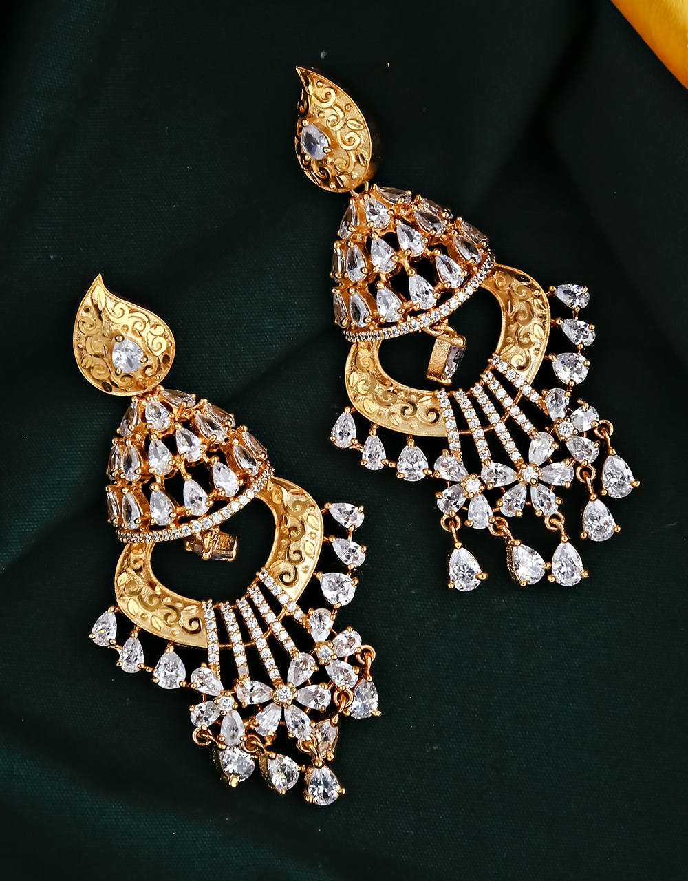 Trendy Rose Gold Finished American Diamond Studded Earrings for Women