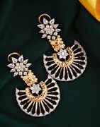 American Diamond Studded Dazzling Pair of Rose Gold Earrings for Women