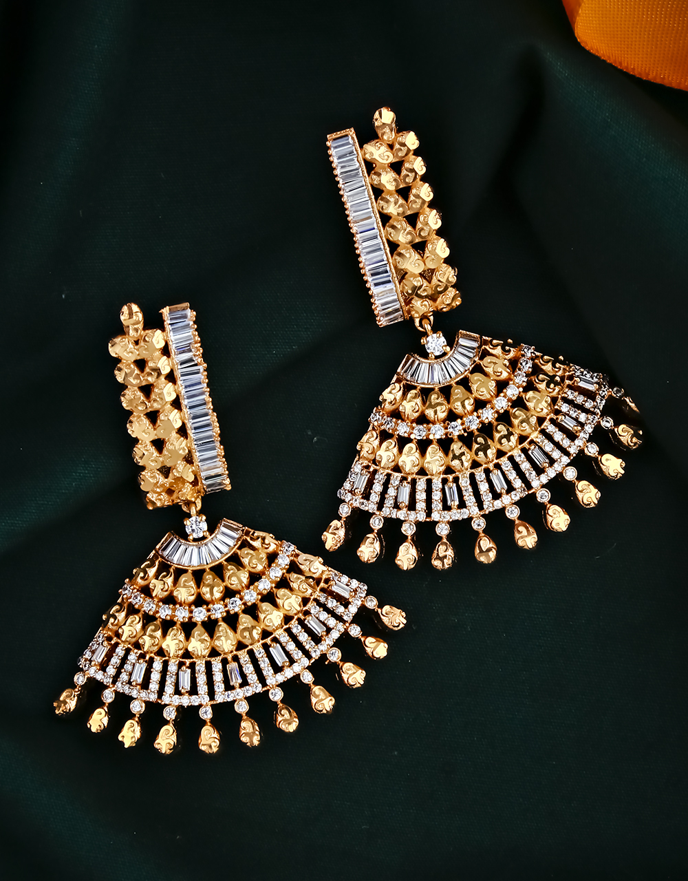 Rose Gold Finished Stylish Pair of American Diamond Studded Earrings for Women