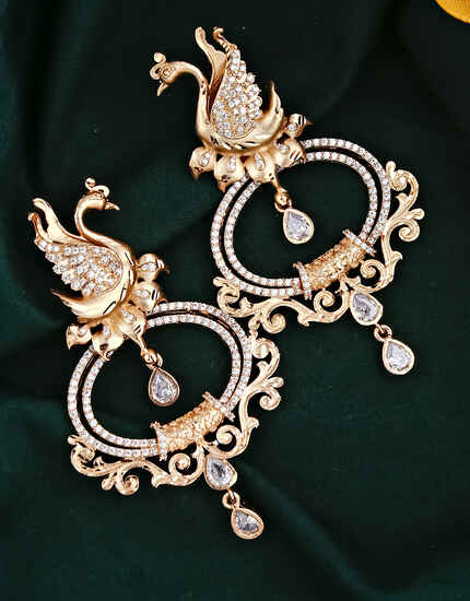 Rose Gold Finished Peacock Inspired Dazzling American Diamond Earrings