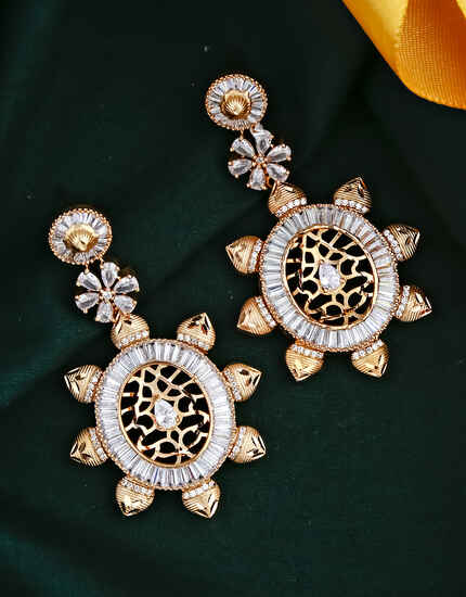 Dazzling Round Shape American Diamond Studded Earring for Women