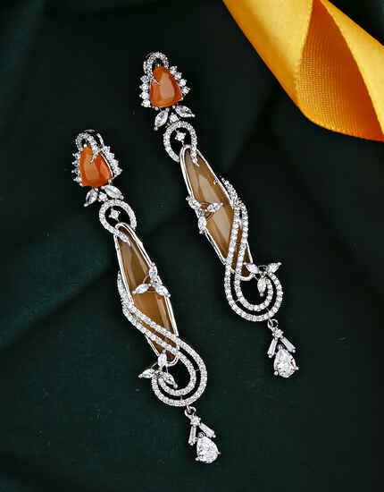 Orange Colour Dazzling Chandelier Earrings for Women