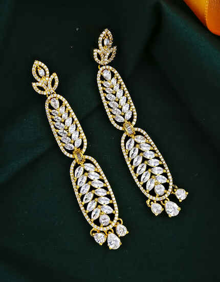 Gold Finished American Diamond Embedded Long Earrings for Women