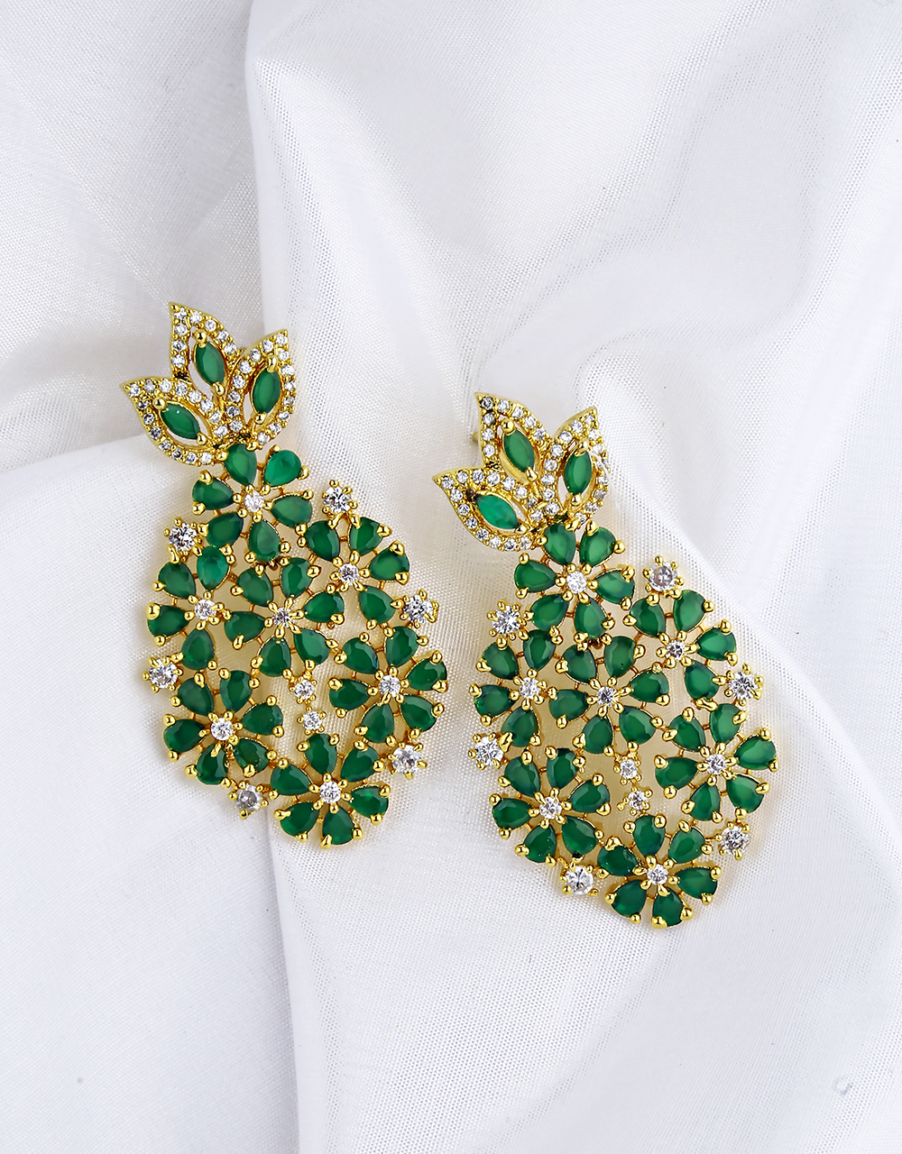 Green Colour Appealing Diamond Studded Floral Earrings for Women