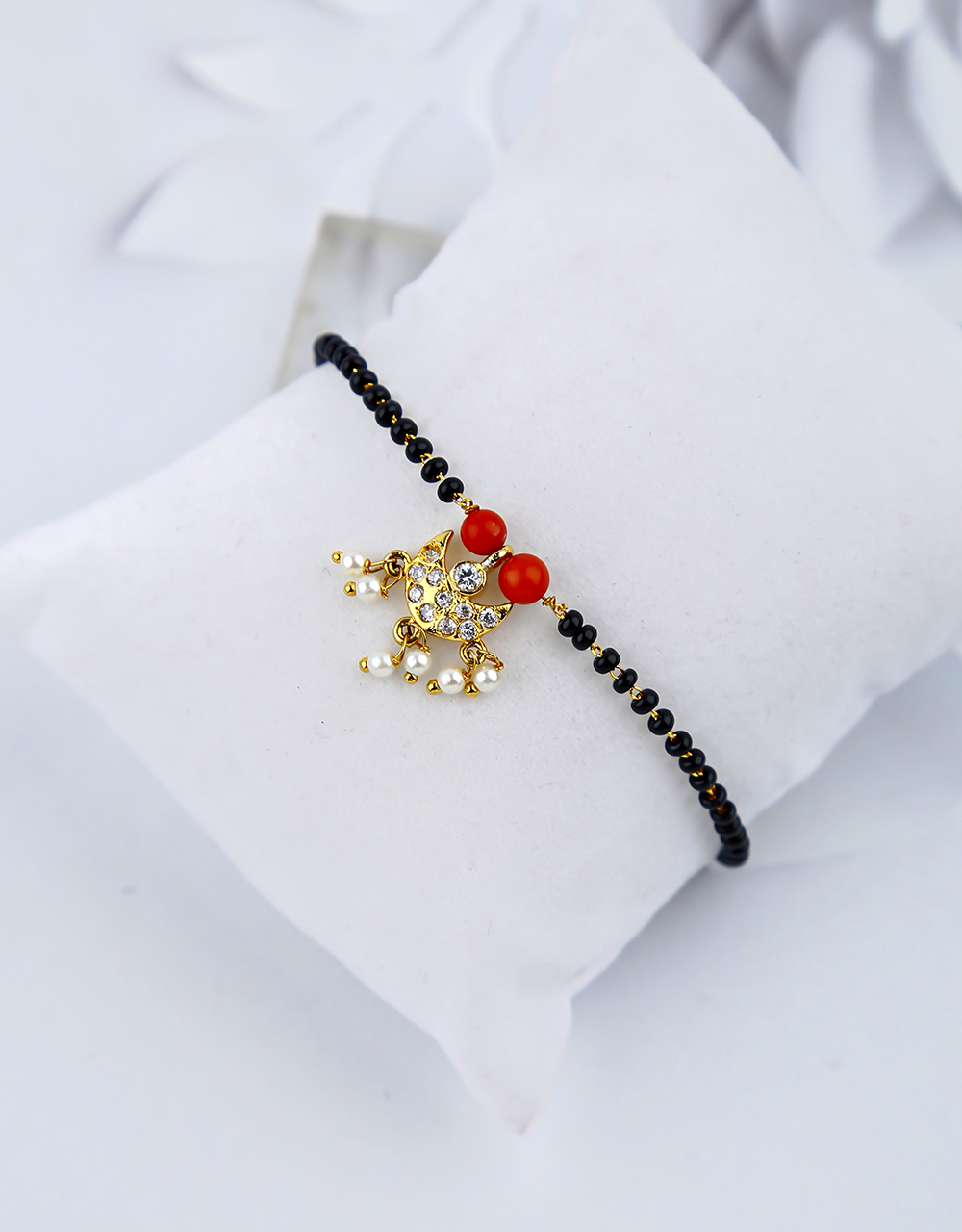 Beautiful Red Colour Black Beads Hand Mangalsutra for Women