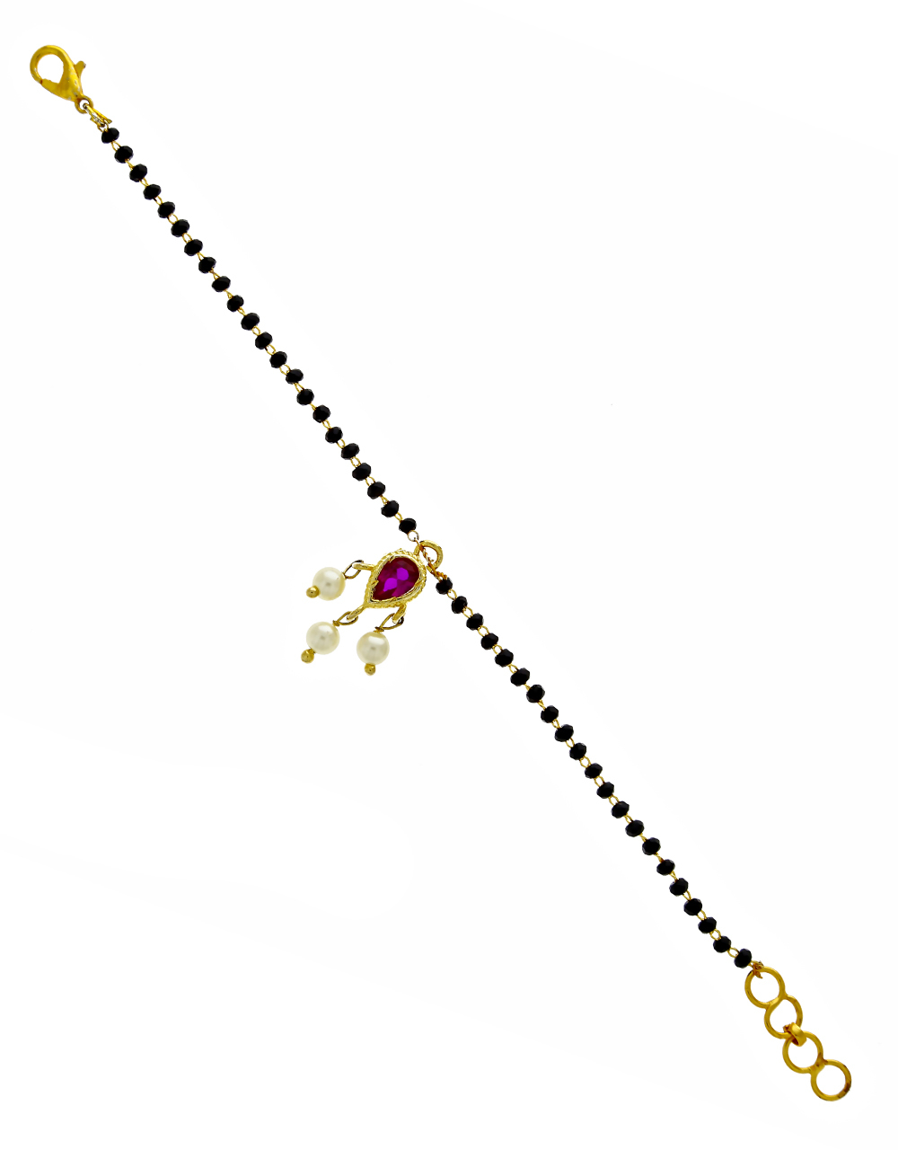 Fancy Design Fixed With Pink Beads Hand Mangalsutra For Women