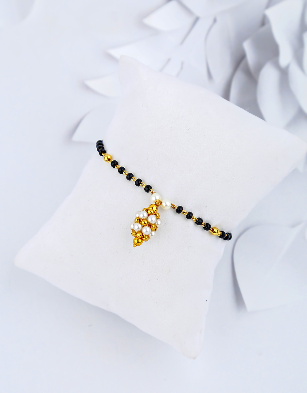 Amazing Golden Colour Pearl and Black Beads Hand Mangalsutra Online