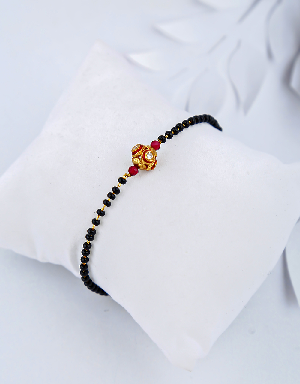 Gorgeous Maroon Colour Black Beads Hand Mangalsutra for Women Online.