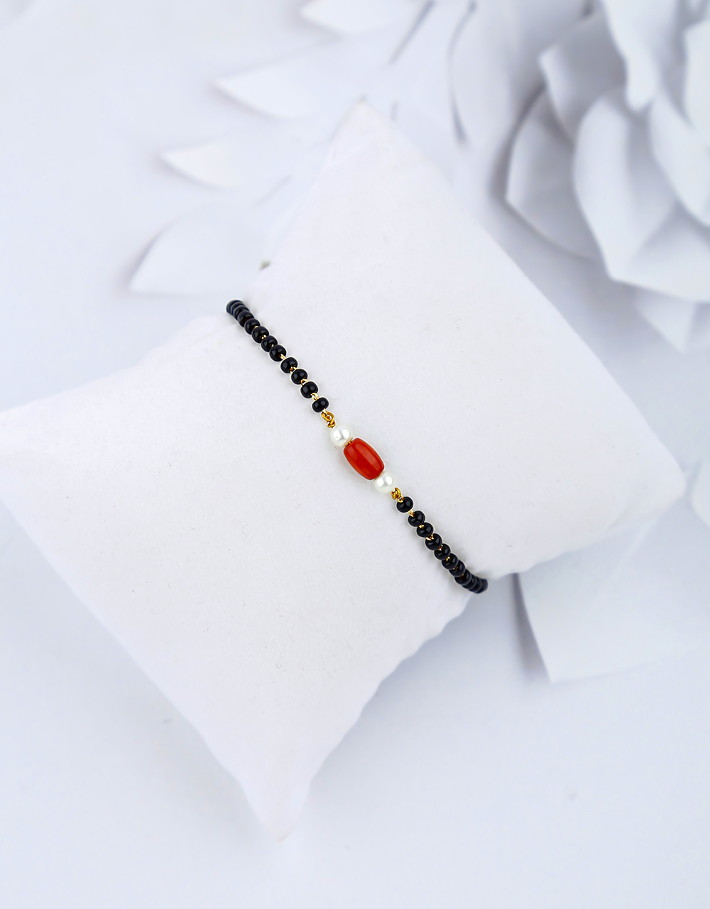Simple and Sober Red Colour Hand Mangalsutra for Women.