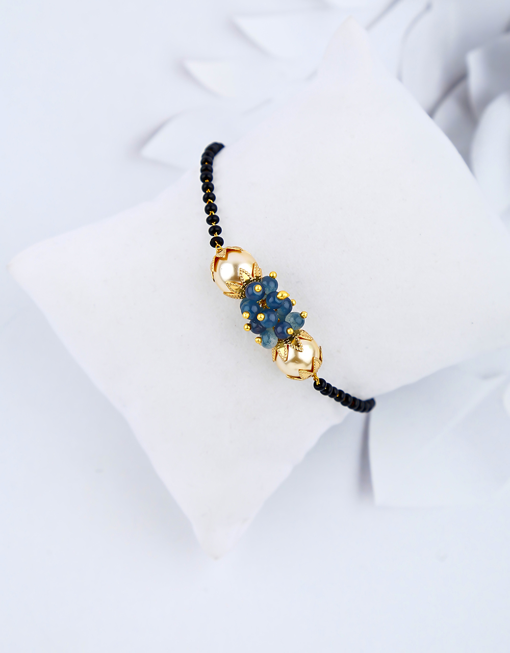Unique Navy-Blue Colour Black Beads Hand Mangalsutra For Women