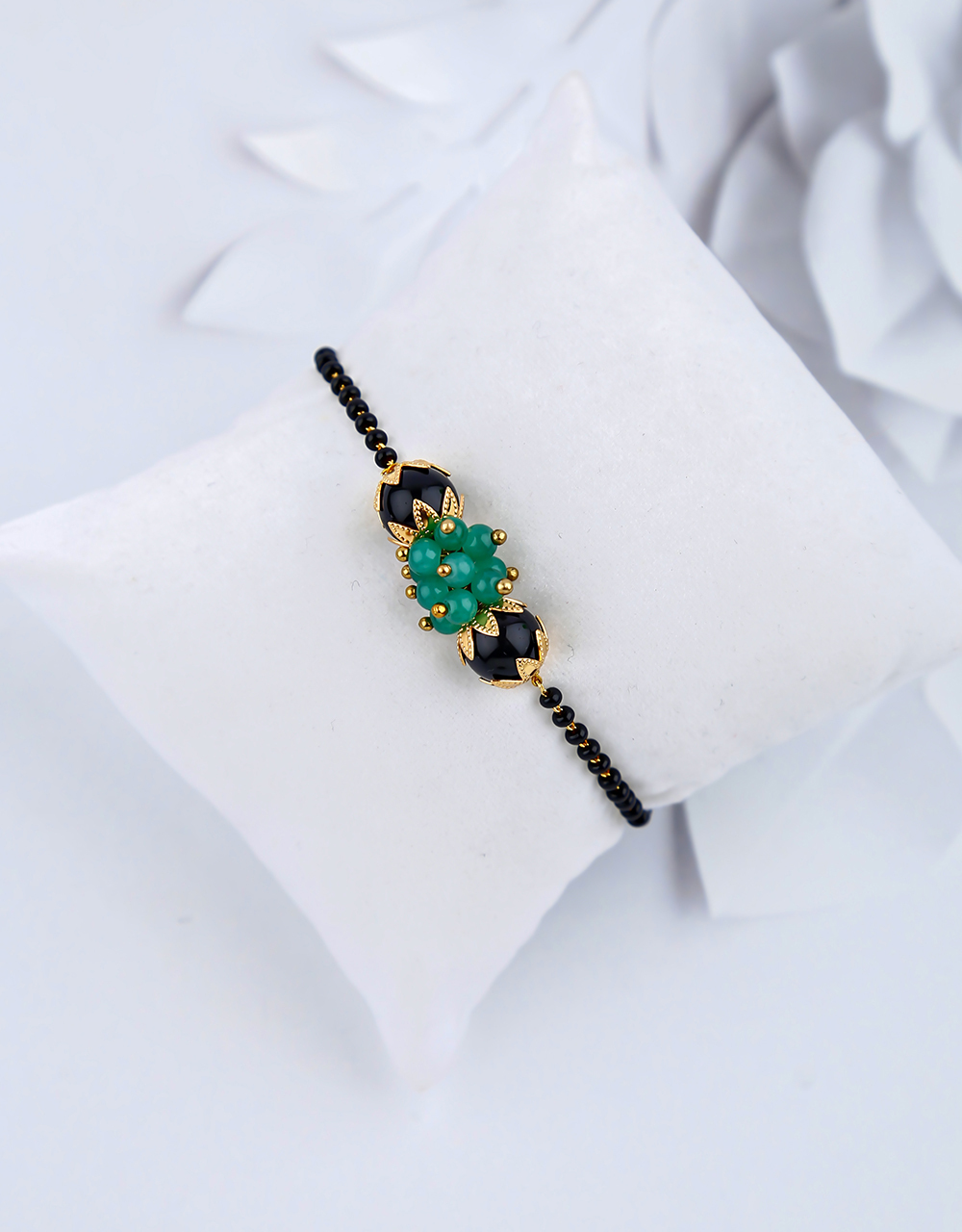 Fancy Green Colour Black Beads Latest Hand Mangalsutra Bracelet
