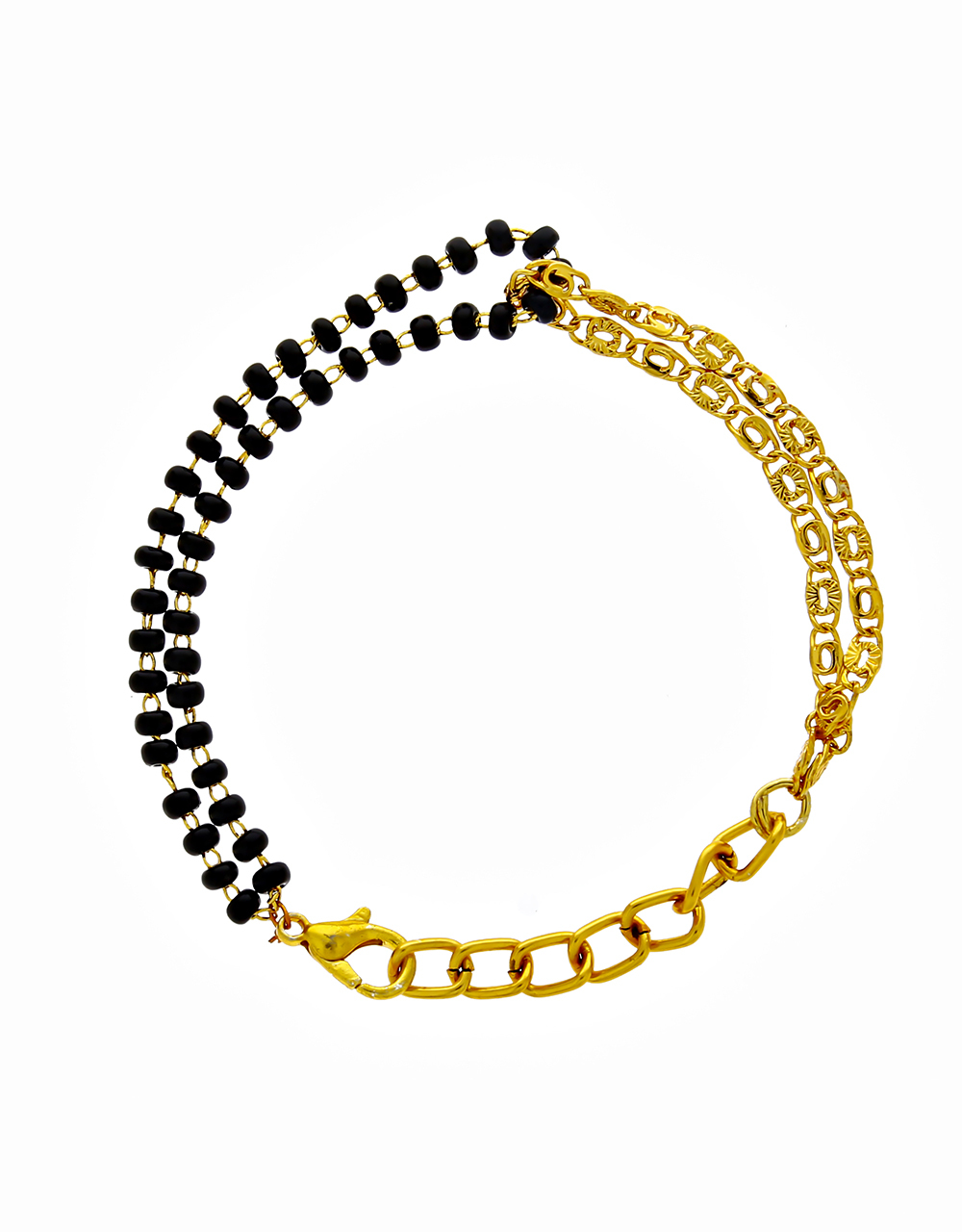Beautiful Golden Chain Black Breads Hand Mangalsutra for Women Stylish Latest