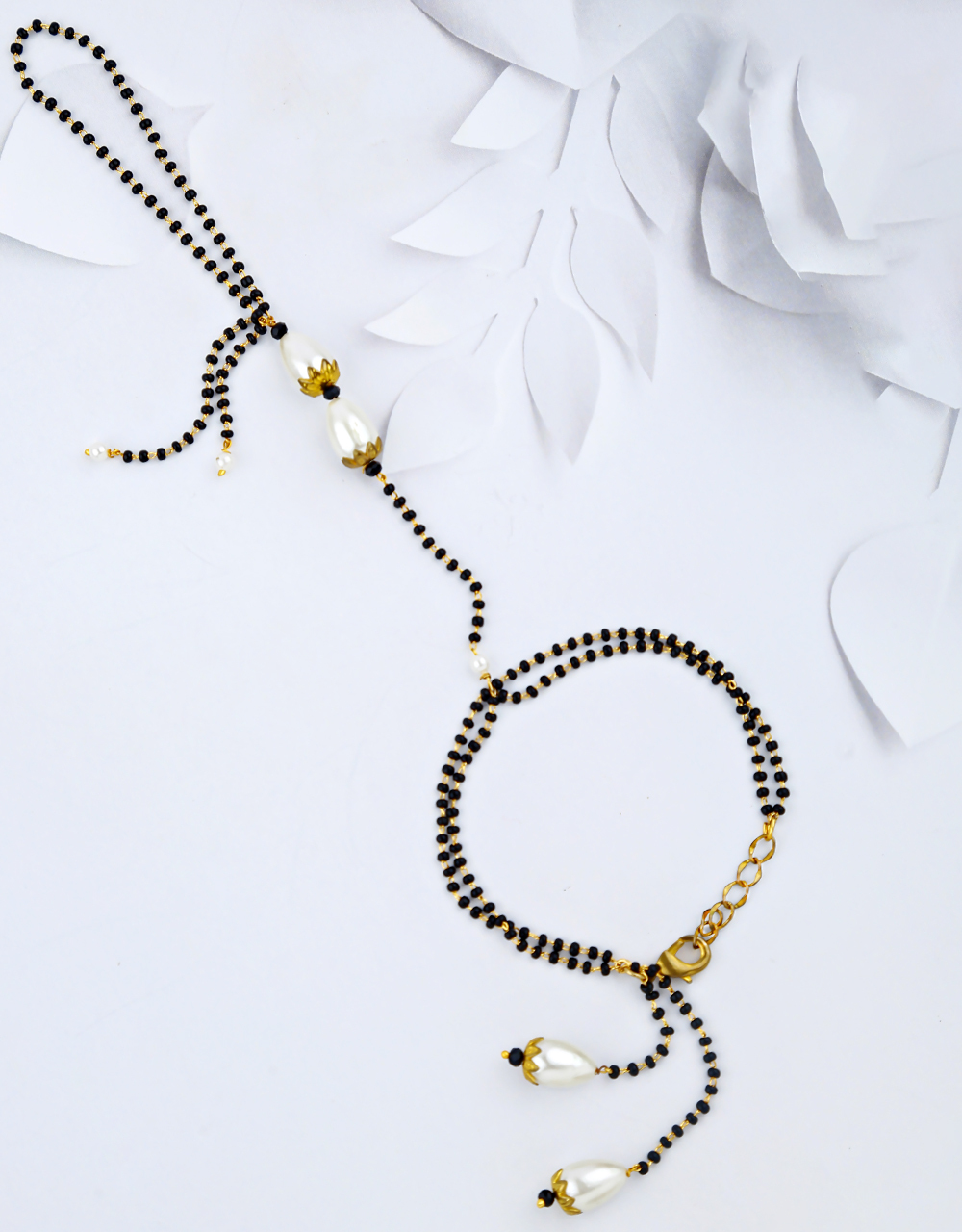 Latest Black Beads with Pearl Latest Hand Mangalsutra Bracelet