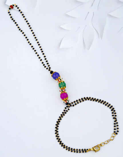 Multi-Colour Black Beads Hand Mangalsutra for Women Stylish Latest