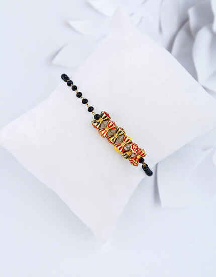 Antique Black Beads Hand Mangalsutra Bracelet for Women