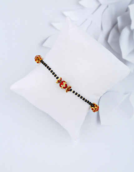 Fashionable Red Colour Black Beads Hand Mangalsutra Bracelet for Women