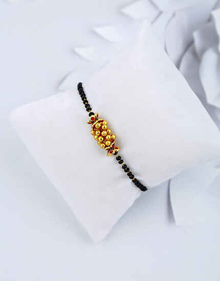 Classy Golden Finish Black Beads Hand Mangalsutra for Women