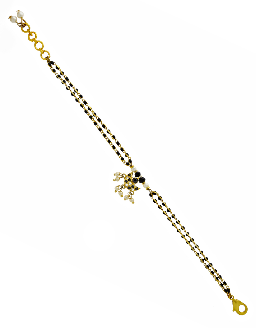Fancy Black Colour Pearl Droplet Latest Hand Mangalsutra
