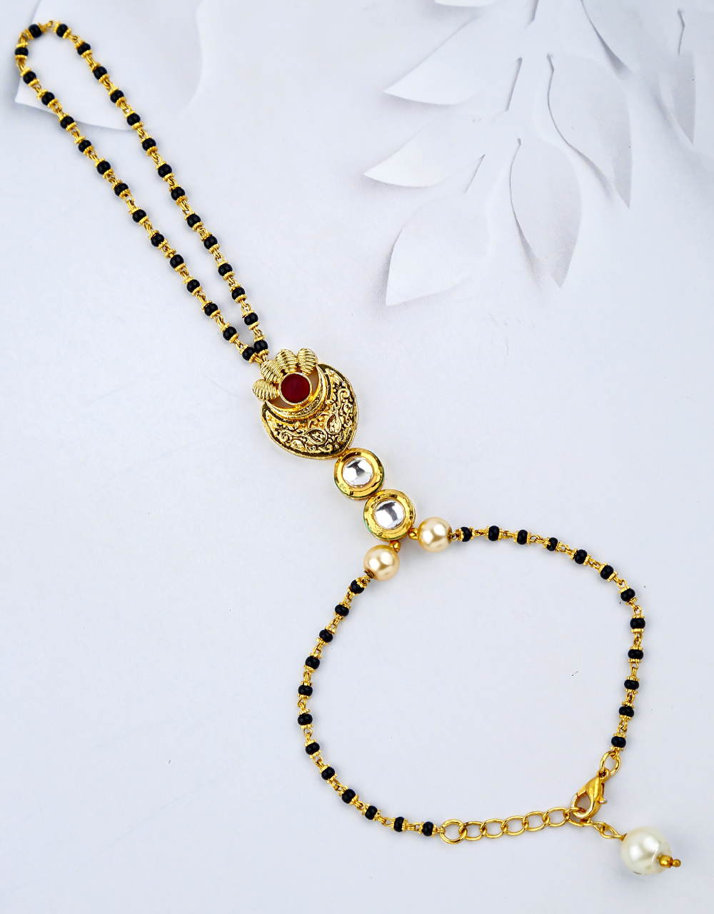 Pink Colour Black Beads Hand Mangalsutra for Women Latest Design