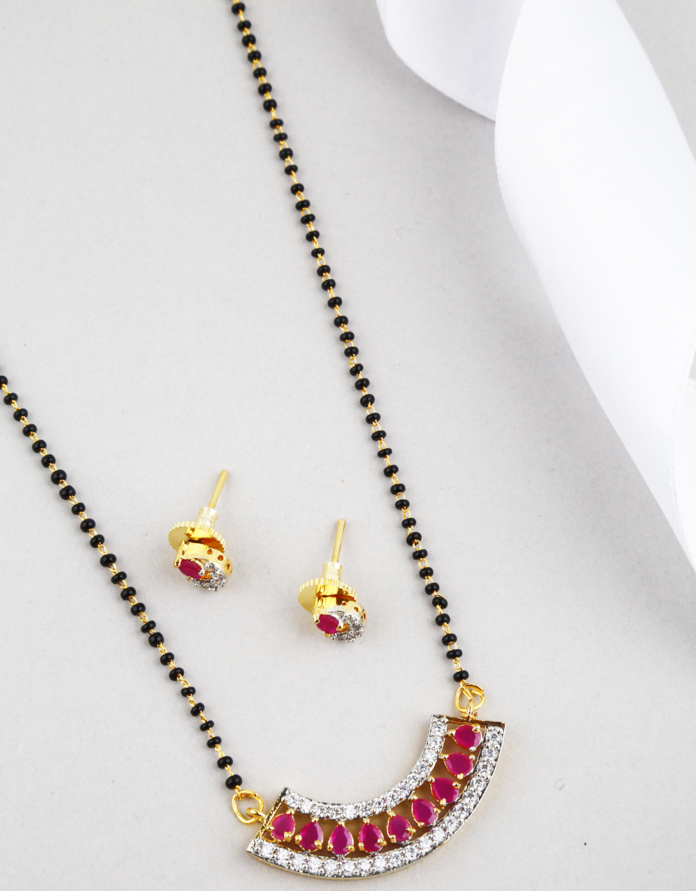 Simple and Sober Pink Colour Mangalsutra Design