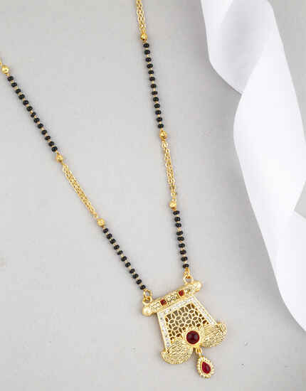Unique Pink Colour Golden Finish Long Mangalsutra for Women