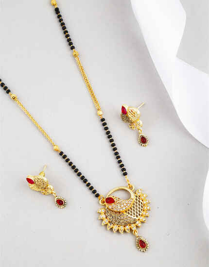 Gazing Red Colour Golden Finish Mangalsutra for Women