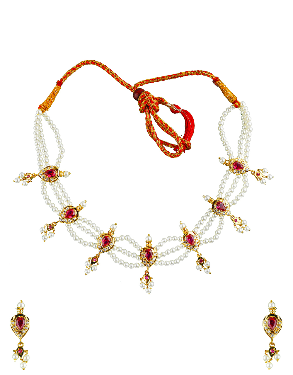 Classy Pink Colour Adorable Traditional Tikda Necklace Set for Women/Girls